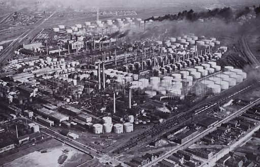 A Neighboring Oil Refinery from the Air. Illustration for Chicago, The Wonder City (2nd edn, Horder, 1930).  At the back of the book, credit for the photographs is given to: Chicago Aerial Survey Co, Chicago Architectural Photographing Co, Kaufmann & Fabry Co.