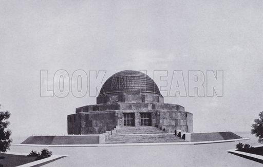 Adler Planetarium and Astronomical Museum. Illustration for Chicago, The Wonder City (2nd edn, Horder, 1930).  At the back of the book, credit for the photographs is given to: Chicago Aerial Survey Co, Chicago Architectural Photographing Co, Kaufmann & Fabry Co.