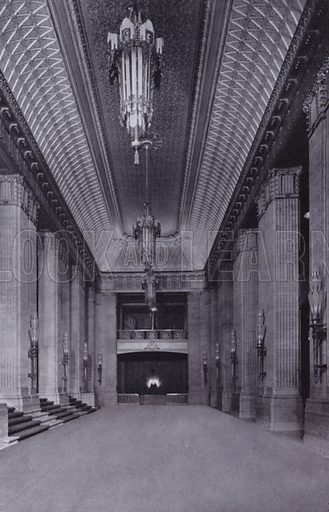 The Foyer of the Civic Opera House. Illustration for Chicago, The Wonder City (2nd edn, Horder, 1930).  At the back of the book, credit for the photographs is given to: Chicago Aerial Survey Co, Chicago Architectural Photographing Co, Kaufmann & Fabry Co.