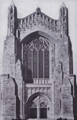 Entrance to Rockefeller Chapel, University of Chicago. Illustration for Chicago, The Wonder City (2nd edn, Horder, 1930).  At the back of the book, credit for the photographs is given to: Chicago Aerial Survey Co, Chicago Architectural Photographing Co, Kaufmann & Fabry Co.