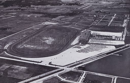 Arlington Race Track from the Air. Illustration for Chicago, The Wonder City (2nd edn, Horder, 1930).  At the back of the book, credit for the photographs is given to: Chicago Aerial Survey Co, Chicago Architectural Photographing Co, Kaufmann & Fabry Co.