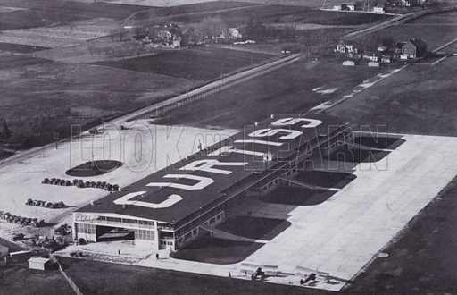 Curtiss Airport from the Air. Illustration for Chicago, The Wonder City (2nd edn, Horder, 1930).  At the back of the book, credit for the photographs is given to: Chicago Aerial Survey Co, Chicago Architectural Photographing Co, Kaufmann & Fabry Co.