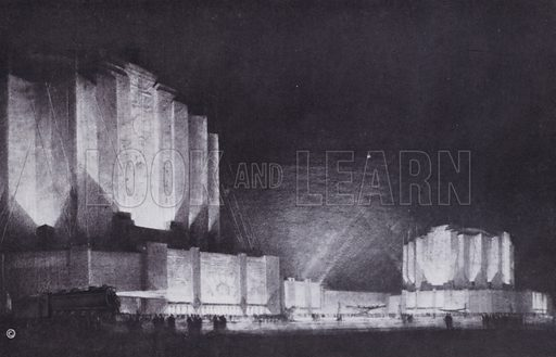 Proposed Travel and Transport Building, 1933 Chicago World's Fair. Illustration for Chicago, The Wonder City (2nd edn, Horder, 1930).  At the back of the book, credit for the photographs is given to: Chicago Aerial Survey Co, Chicago Architectural Photographing Co, Kaufmann & Fabry Co.