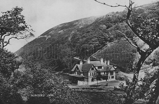Hunter's inn. Illustration for Views of Combe Martin (Valentine, c 1895).  Gravure printed.