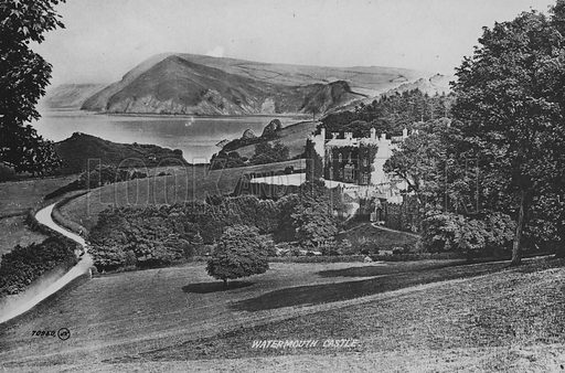 Watermouth Castle. Illustration for Views of Combe Martin (Valentine, c 1895).  Gravure printed.