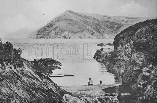 Watermouth Boat Creek. Illustration for Views of Combe Martin (Valentine, c 1895).  Gravure printed.