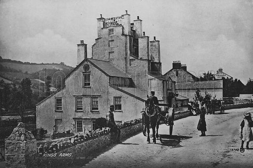 King's arms. Illustration for Views of Combe Martin (Valentine, c 1895).  Gravure printed.