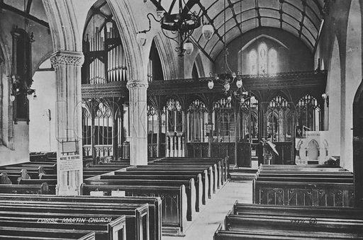 Combe Martin Church. Illustration for Views of Combe Martin (Valentine, c 1895).  Gravure printed.