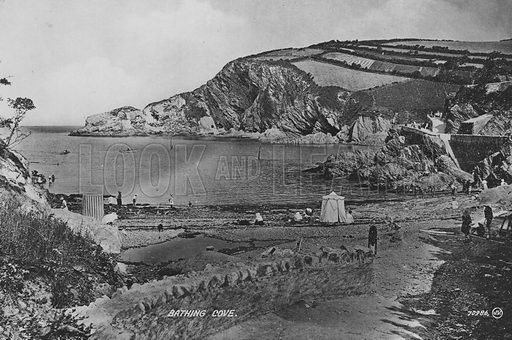 Bathing cove. Illustration for Views of Combe Martin (Valentine, c 1895).  Gravure printed.