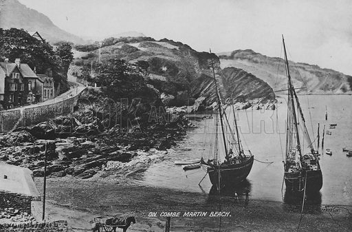 On Combe Martin Beach. Illustration for Views of Combe Martin (Valentine, c 1895).  Gravure printed.