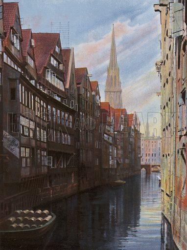 Fleet bei der Groningerstrasse. Illustration for a souvenir album of coloured photos of Hamburg (Gerhard Blumlein, c 1914).