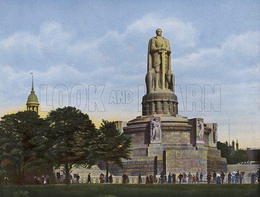 Bismarckdenkmal. Illustration for a souvenir album of coloured photos of Hamburg (Gerhard Blumlein, c 1914).