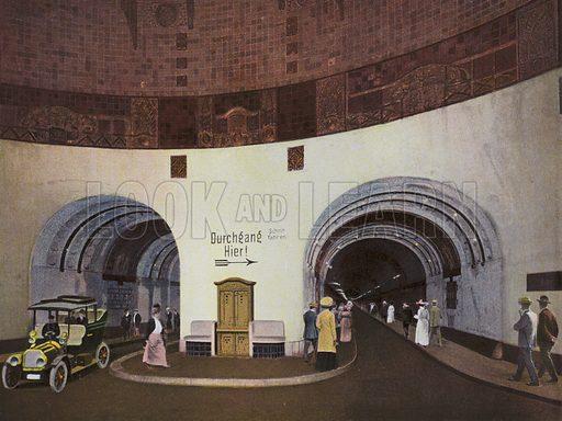 Elbtunnel, erbaut 1908-11 Lange 450m, Tiefe 20m u W Kosten ca 11 Mill M. Illustration for a souvenir album of coloured photos of Hamburg (Gerhard Blumlein, c 1914).