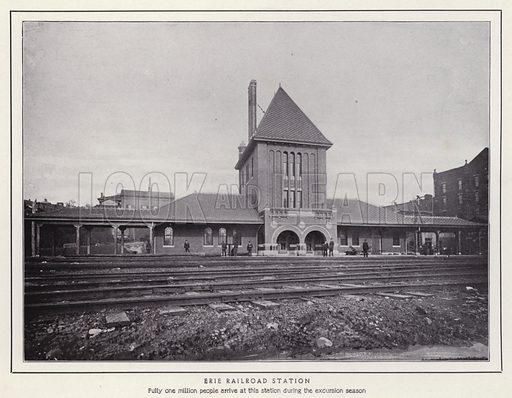 Erie Railroad Station. Illustration for a booklet of photographic views, Jamestown and its Surroundings (S H Knox, c 1900).