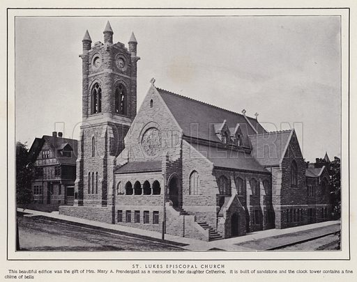 St Lukes Episcopal Church. Illustration for a booklet of photographic views, Jamestown and its Surroundings (S H Knox, c 1900).