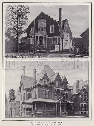 Residence of E A Bradshaw; Residence of W M Haffer. Illustration for a booklet of photographic views, Jamestown and its Surroundings (S H Knox, c 1900).