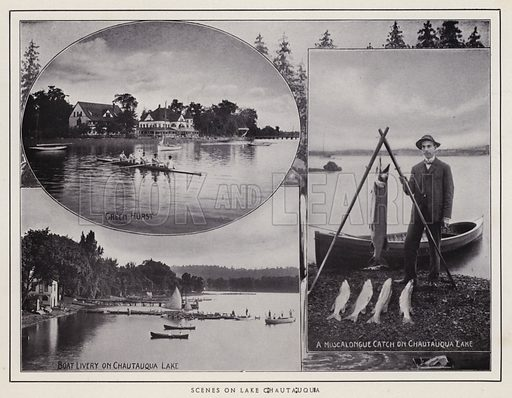 Scenes on Lake Chautauqua. Illustration for a booklet of photographic views, Jamestown and its Surroundings (S H Knox, c 1900).