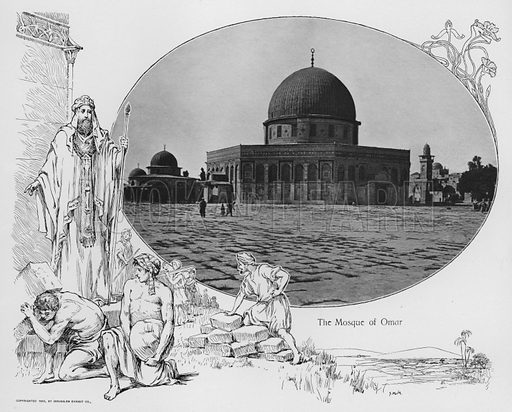 The Mosque of Omar. Illustration for Souvenir Album Jerusalem (Jerusalen Exhibit Co, 1902).  Interesting for the combination of old photos and historical illustrations.