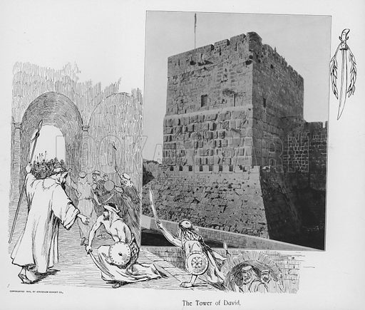The Tower of David. Illustration for Souvenir Album Jerusalem (Jerusalen Exhibit Co, 1902).  Interesting for the combination of old photos and historical illustrations.