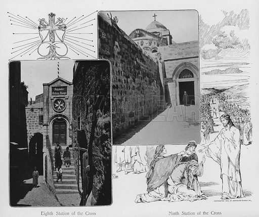 Eighth Station of the Cross; Ninth Station of the Cross. Illustration for Souvenir Album Jerusalem (Jerusalen Exhibit Co, 1902).  Interesting for the combination of old photos and historical illustrations.