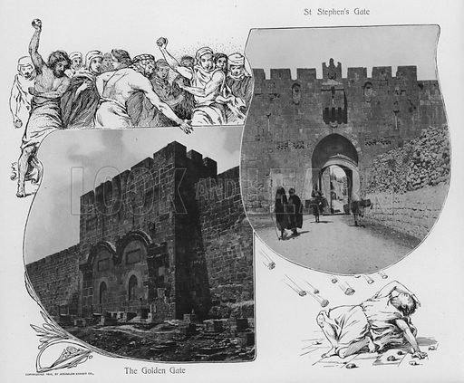 The Golden Gate; St Stephen's Gate. Illustration for Souvenir Album Jerusalem (Jerusalen Exhibit Co, 1902).  Interesting for the combination of old photos and historical illustrations.