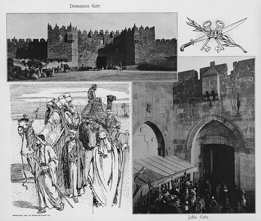 Damascus Gate; Jaffa Gate. Illustration for Souvenir Album Jerusalem (Jerusalen Exhibit Co, 1902).  Interesting for the combination of old photos and historical illustrations.