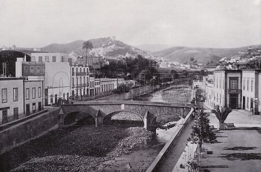 Barranco of Las Palmas. Illustration for Souvenir de Las Palmas (np, c 1900).  Las Palmas is a capital of Gran Canaria, one of Spain's Canary Islands off northwestern Africa.