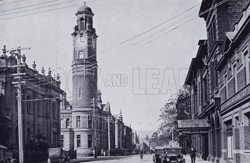 Cameron Street, Town Hall and Post Office on left, Public Library and Municipal Substation on right. Illustration for Picturesque Launceston and Surrounding Tourist Resorts, photographed by S Spurling (Spurling, c 1915).