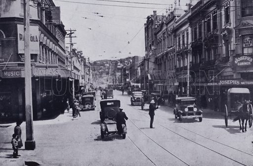Brisbane Street from intersection of George Street. Illustration for Picturesque Launceston and Surrounding Tourist Resorts, photographed by S Spurling (Spurling, c 1915).