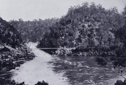 The First Basin and Alexandra Bridge, Cataract Gorge. Illustration for Picturesque Launceston and Surrounding Tourist Resorts, photographed by S Spurling (Spurling, c 1915).