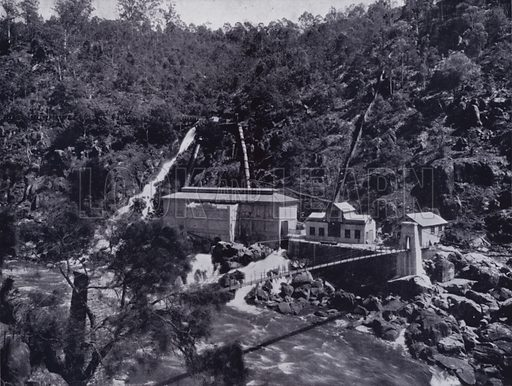 Electric Power Station, South Esk River. Illustration for Picturesque Launceston and Surrounding Tourist Resorts, photographed by S Spurling (Spurling, c 1915).
