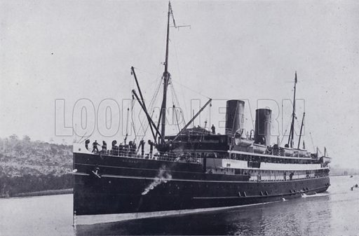 TS Nairana in Home Reach, River Tamar. Illustration for Picturesque Launceston and Surrounding Tourist Resorts, photographed by S Spurling (Spurling, c 1915).