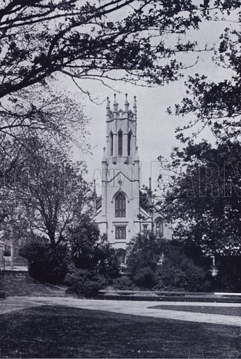 Chalmers Church, viewed from the Prince's Square. Illustration for Picturesque Launceston and Surrounding Tourist Resorts, photographed by S Spurling (Spurling, c 1915).