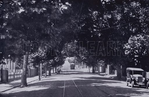 The Elphin Road, Launceston. Illustration for Picturesque Launceston and Surrounding Tourist Resorts, photographed by S Spurling (Spurling, c 1915).