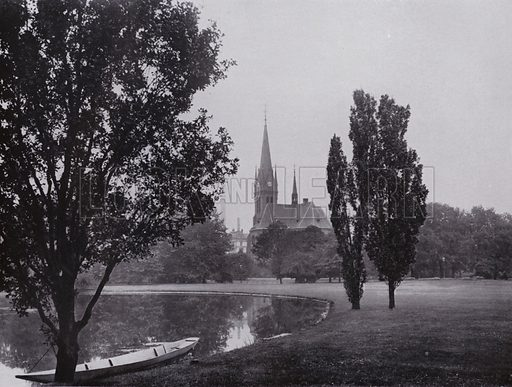 Johannapark Mit Lutherkirche. Illustration for Album von Leipzig (Globus Verlag, c 1912).  Photos appear to be c 1900, ie earlier than the date of the publication.