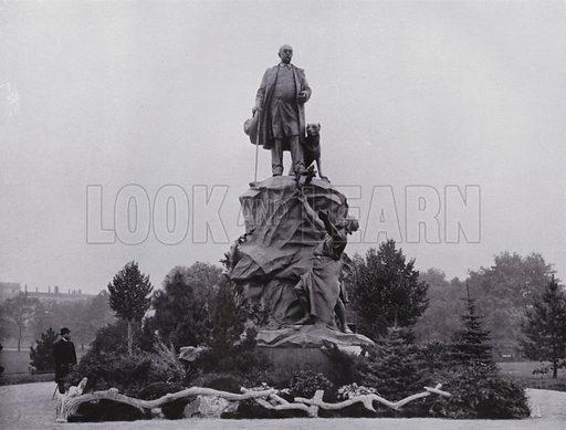 Bismarck-Denkmal. Illustration for Album von Leipzig (Globus Verlag, c 1912).  Photos appear to be c 1900, ie earlier than the date of the publication.
