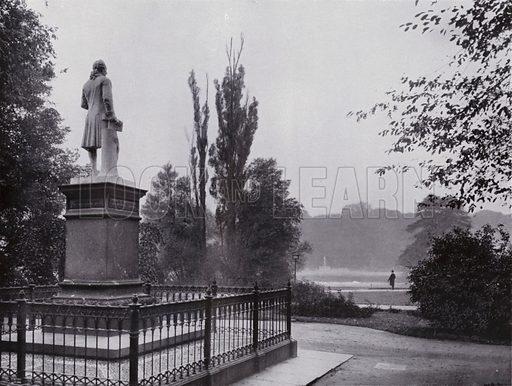 Rosental-Partie Mit Gellert-Denkmal. Illustration for Album von Leipzig (Globus Verlag, c 1912).  Photos appear to be c 1900, ie earlier than the date of the publication.