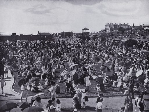 St Kilda Beach, Melbourne's popular seaside resort, Showing the lawns. Illustration for a souvenir booklet on Melbourne, Australia (Artistic Arts, c 1915).  Photo credit: Railway Commissioners.
