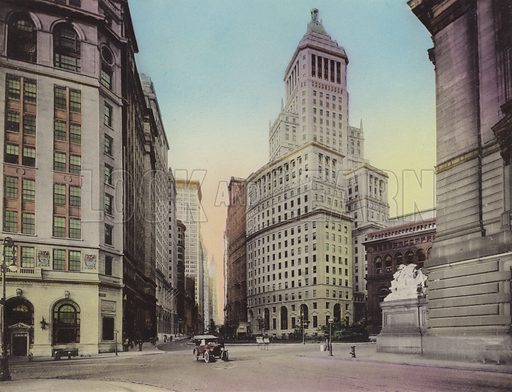 Washington Building, No 1 Broadway; Standard Oil Building; Custom House. Illustration for souvenir booklet of views of New York (A Wittemann, c 1915).  Unusually fine coloured views of early 20th century New York.  Gravure printed.