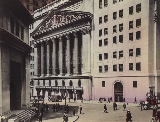 J P Morgan and Co; New York Stock Exchange. Illustration for souvenir booklet of views of New York (A Wittemann, c 1915).  Unusually fine coloured views of early 20th century New York.  Gravure printed.
