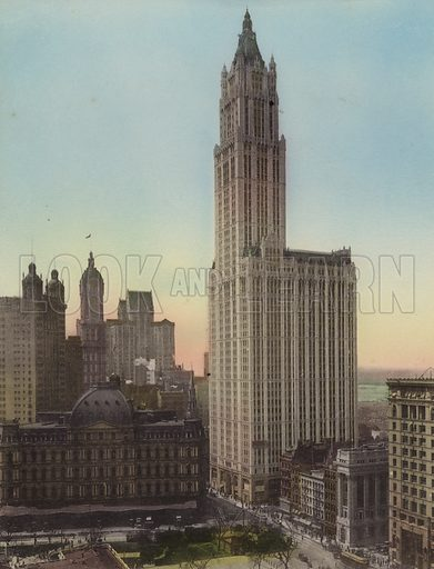 Post Office; Woolworth Building. Illustration for souvenir booklet of views of New York (A Wittemann, c 1915).  Unusually fine coloured views of early 20th century New York.  Gravure printed.