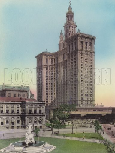 City Hall and Civic Virtue Statue; Municipal Building. Illustration for souvenir booklet of views of New York (A Wittemann, c 1915).  Unusually fine coloured views of early 20th century New York.  Gravure printed.