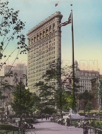 Fuller (Flatiron) Building, from Madison Square. Illustration for souvenir booklet of views of New York (A Wittemann, c 1915).  Unusually fine coloured views of early 20th century New York.  Gravure printed.