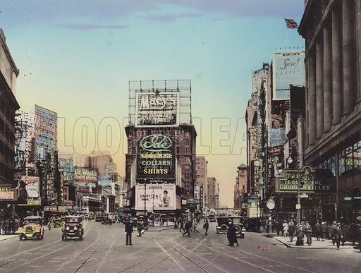 Broadway; The Rialto; Seventh Avenue; Loew's Theatre. Illustration for souvenir booklet of views of New York (A Wittemann, c 1915).  Unusually fine coloured views of early 20th century New York.  Gravure printed.