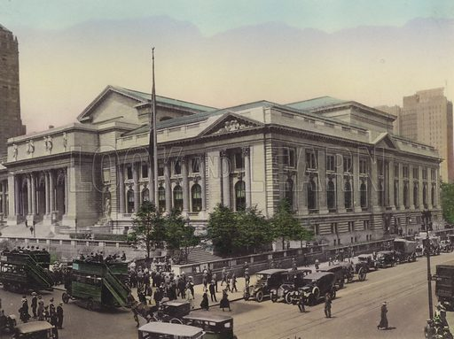 Public Library, Fifth Avenue and West 42nd Street. Illustration for souvenir booklet of views of New York (A Wittemann, c 1915).  Unusually fine coloured views of early 20th century New York.  Gravure printed.