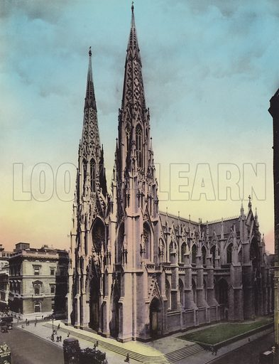 St Patrick's Cathedral. Illustration for souvenir booklet of views of New York (A Wittemann, c 1915).  Unusually fine coloured views of early 20th century New York.  Gravure printed.