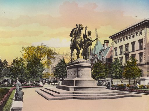 General Sherman Statue, The Plaza. Illustration for souvenir booklet of views of New York (A Wittemann, c 1915).  Unusually fine coloured views of early 20th century New York.  Gravure printed.