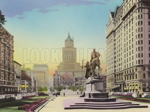 Fifth Avenue and the Plaza; Heckscher Bldg; Gen Sherman Statue; Hotel Plaza. Illustration for souvenir booklet of views of New York (A Wittemann, c 1915).  Unusually fine coloured views of early 20th century New York.  Gravure printed.
