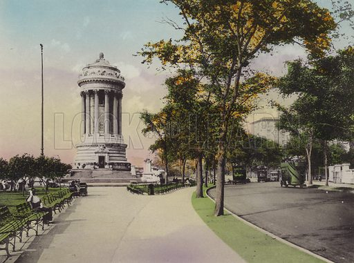 Soldiers' and Sailors' Monument, Riverside Drive. Illustration for souvenir booklet of views of New York (A Wittemann, c 1915).  Unusually fine coloured views of early 20th century New York.  Gravure printed.