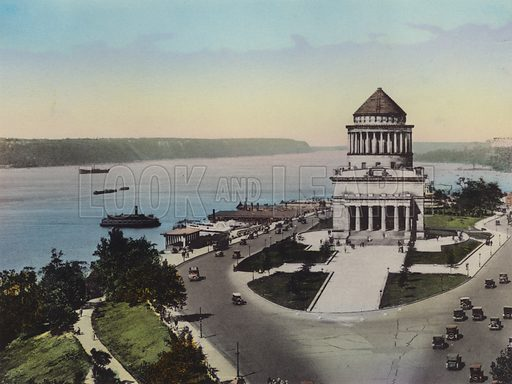 The Hudson River and Riverside Drive; Grant's Tomb. Illustration for souvenir booklet of views of New York (A Wittemann, c 1915).  Unusually fine coloured views of early 20th century New York.  Gravure printed.